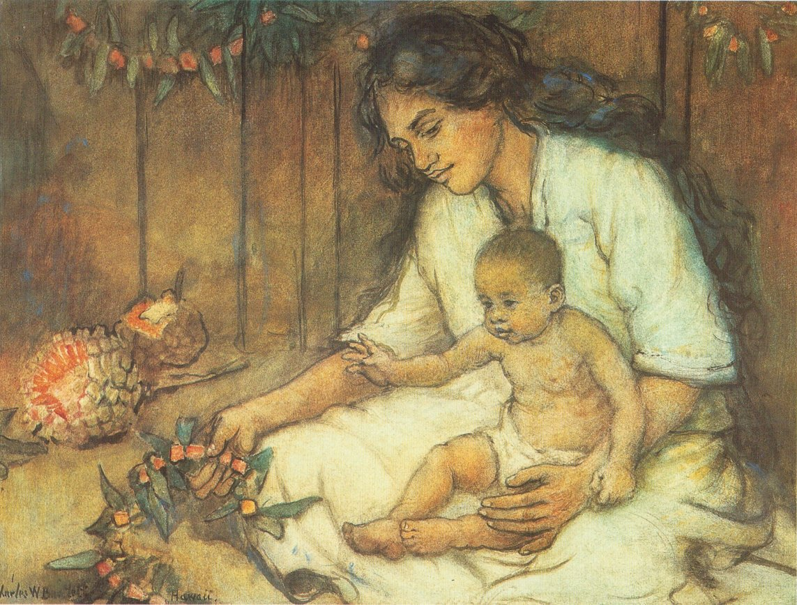 Charles_W._Bartlett_-_'Hawaiian_Mother_and_Child',_watercolor_and_pastel_on_art_board,_c._1920